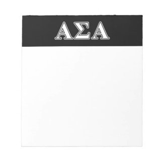 Alpha Sigma Alpha White and Black Letters Memo Notepad