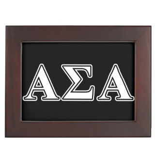 Alpha Sigma Alpha White and Black Letters Memory Box