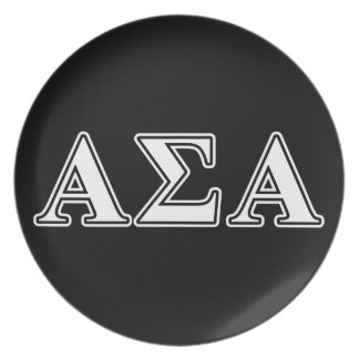 Alpha Sigma Alpha White and Black Letters Dinner Plates
