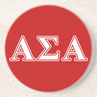 Alpha Sigma Alpha White and Red Letters Drink Coaster