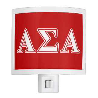 Alpha Sigma Alpha White and Red Letters Night Lites