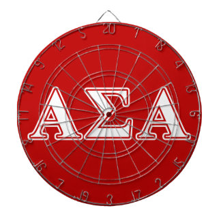 Alpha Sigma Alpha White and Red Letters Dartboard