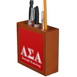 Alpha Sigma Alpha White and Red Letters Desk Organizer