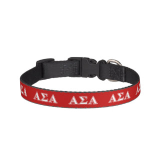 Alpha Sigma Alpha White and Red Letters Dog Collar