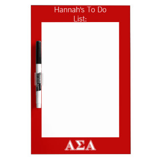 Alpha Sigma Alpha White and Red Letters Dry-Erase Whiteboards