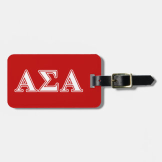 Alpha Sigma Alpha White and Red Letters Luggage Tag