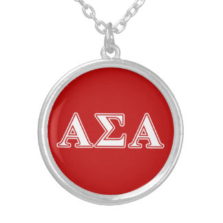Alpha Sigma Alpha White and Red Letters Necklace