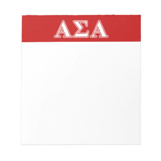 Alpha Sigma Alpha White and Red Letters Scratch Pad