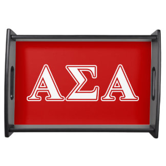 Alpha Sigma Alpha White and Red Letters Service Tray