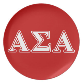 Alpha Sigma Alpha White and Red Letters Plate