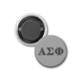 Alpha Sigma Phi Black Letters 1 Inch Round Magnet