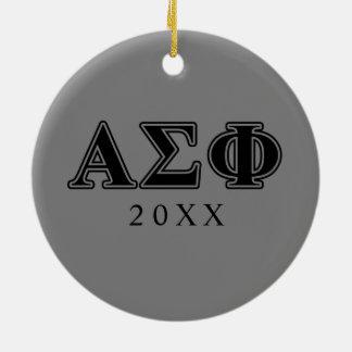 Alpha Sigma Phi Black Letters Christmas Ornaments