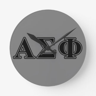Alpha Sigma Phi Black Letters Clocks