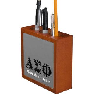 Alpha Sigma Phi Black Letters Desk Organizer