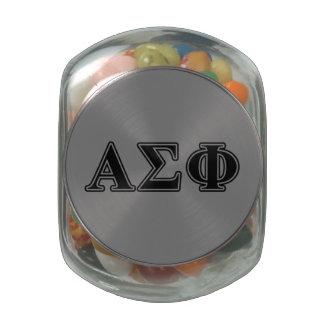 Alpha Sigma Phi Black Letters Glass Candy Jars