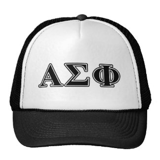 Alpha Sigma Phi Black Letters Trucker Hats