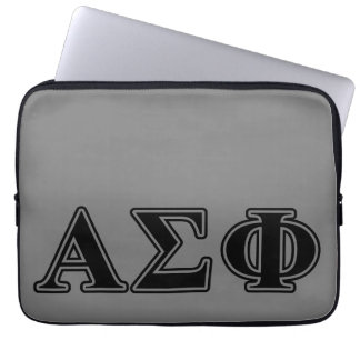 Alpha Sigma Phi Black Letters Laptop Computer Sleeves
