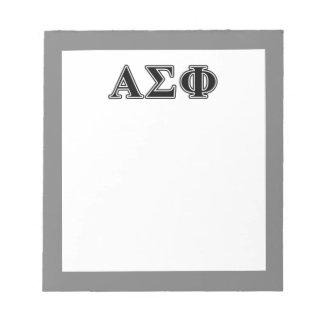 Alpha Sigma Phi Black Letters Memo Pad