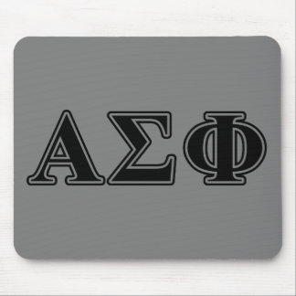 Alpha Sigma Phi Black Letters Mouse Pad