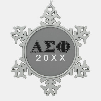 Alpha Sigma Phi Black Letters Snowflake Pewter Christmas Ornament