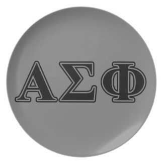 Alpha Sigma Phi Black Letters Party Plates
