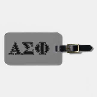Alpha Sigma Phi Black Letters Tags For Bags