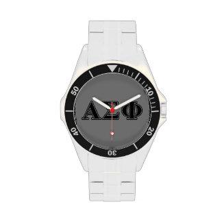 Alpha Sigma Phi Black Letters Wristwatch