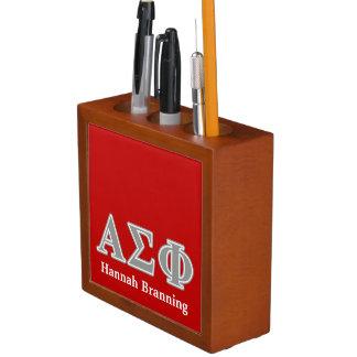 Alpha Sigma Phi Grey Letters Desk Organizer