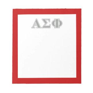 Alpha Sigma Phi Grey Letters Memo Pad