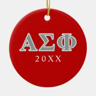 Alpha Sigma Phi Grey Letters Christmas Tree Ornament