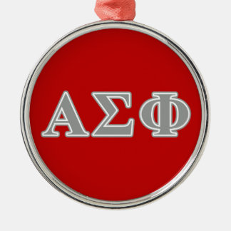 Alpha Sigma Phi Grey Letters Round Metal Christmas Ornament