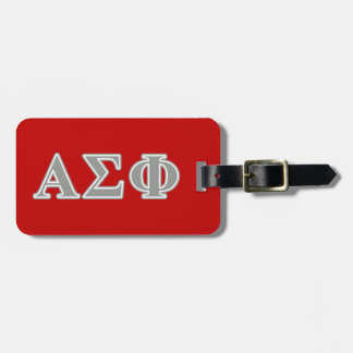 Alpha Sigma Phi Grey Letters Travel Bag Tags