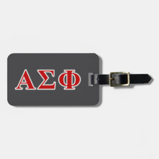 Alpha Sigma Phi Red and Grey Lettes Bag Tag