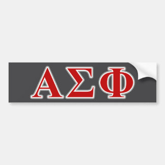 Alpha Sigma Phi Red and Grey Lettes Bumper Sticker