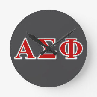 Alpha Sigma Phi Red and Grey Lettes Clocks