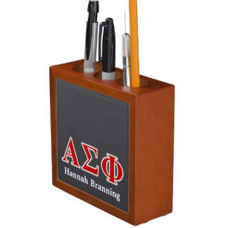 Alpha Sigma Phi Red and Grey Lettes Desk Organizers