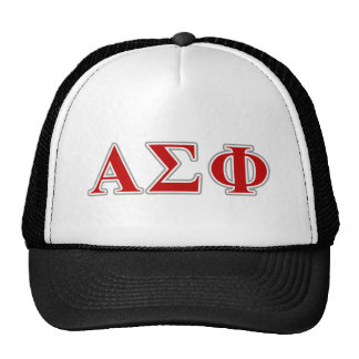 Alpha Sigma Phi Red and Grey Lettes Mesh Hats
