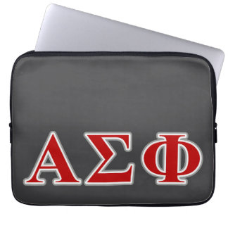 Alpha Sigma Phi Red and Grey Lettes Laptop Sleeves