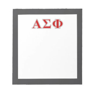 Alpha Sigma Phi Red and Grey Lettes Memo Pad