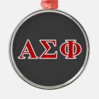 Alpha Sigma Phi Red and Grey Lettes Metal Ornament