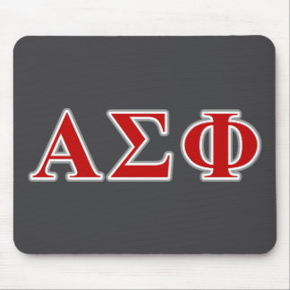 Alpha Sigma Phi Red and Grey Lettes Mouse Pad