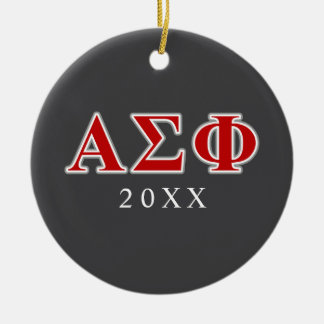 Alpha Sigma Phi Red and Grey Lettes Double-Sided Ceramic Round Christmas Ornament
