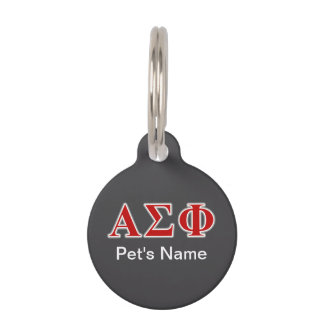 Alpha Sigma Phi Red and Grey Lettes Pet Name Tags