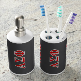 Alpha Sigma Phi Red and Grey Lettes Bath Accessory Set