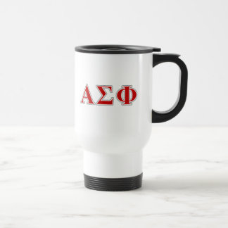 Alpha Sigma Phi Red and Grey Lettes Travel Mug