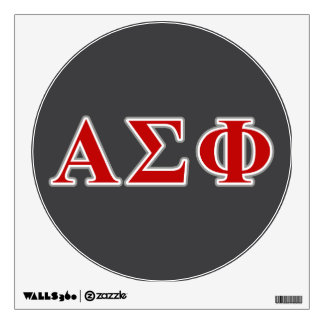 Alpha Sigma Phi Red and Grey Lettes Wall Decal