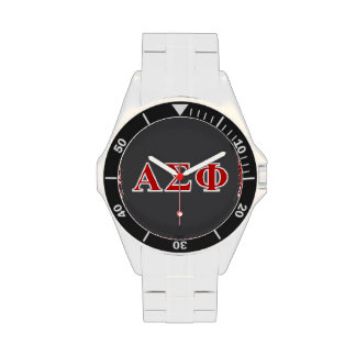 Alpha Sigma Phi Red and Grey Lettes Wristwatches