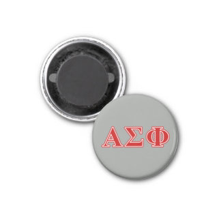 Alpha Sigma Phi Red Letters 1 Inch Round Magnet