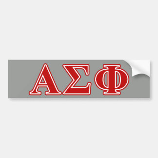Alpha Sigma Phi Red Letters Bumper Sticker