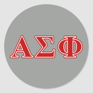 Alpha Sigma Phi Red Letters Classic Round Sticker